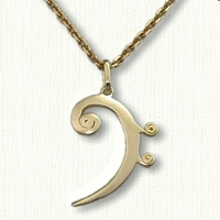 Custom Monogram Bass Clef Pendant
