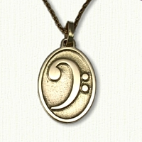 14kt Yellow Gold Bass Clef Pendant - 1 inch
