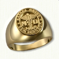18kt Yellow Gold Custom Medical Signet Ring