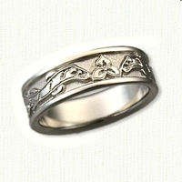 14kt White Gold Custom Ivy and Otters Wedding Band