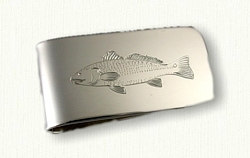 Money Clip,  Hand-engraved Redfish