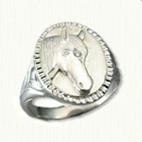 Sterling Silver Custom Horse Ring with Diamond set in the Forehead