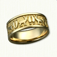 14kt Yellow Gold Custom Deer Ring ( Bucks )