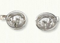 Sterling silver framed buffalo cuff links