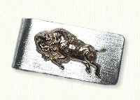 Sterling silver money clip with 14kt charging buffalo