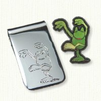 Sterling money clip with hand engraved frog