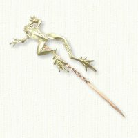 14kt green gold frog stick pin