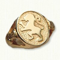 14ky yellow gold lion & thistle signet ring