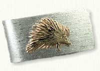 Sterling silver money clip with 14kt porcupine