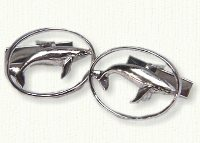 Sterling silver pierced whale cuff links