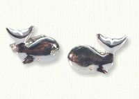 Sterling silver large whale cuff links
