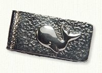 Sterling silver textured money clip with raised whale