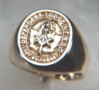 Custom 14kt gold Masonic Signet ring - Defenders Lodge