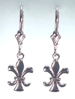 14KW Fleur-de-Lis Drop Earrings