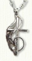 G-clef cross in sterling silver