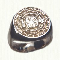 Custom 14kt fire fighters signet ring