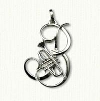 Custom Monogram B Pendant with Trumpet